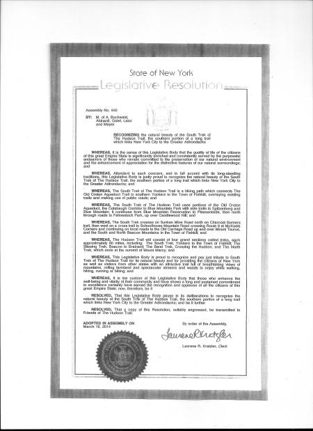 Resolution honoring Hudson Trail